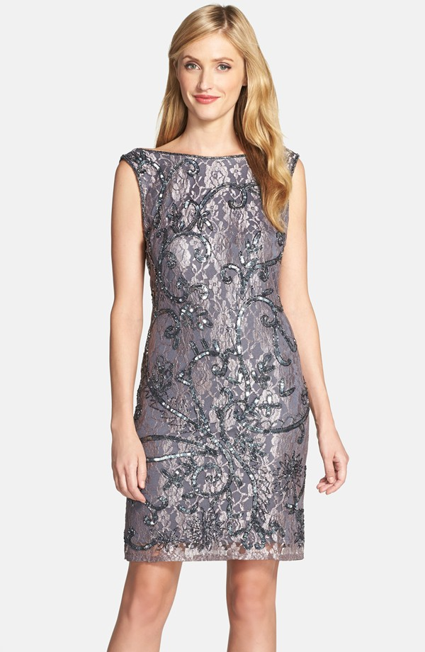 Silver Sequined Lace Dress