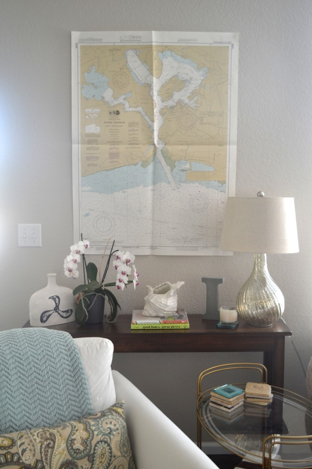 Console Table with Nautical Chart