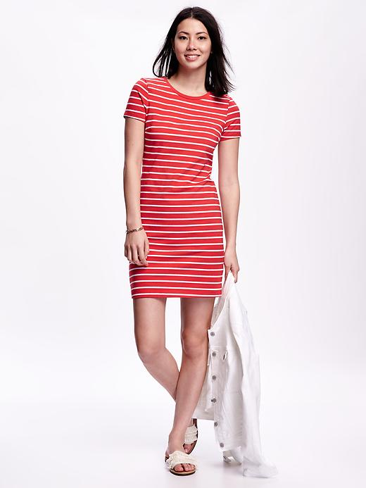 Striped Red T-shirt Dress