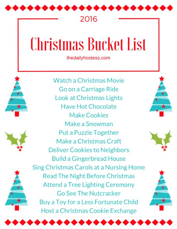 Get in the holiday spirit with this FREE Christmas Bucket List Printable. Click here for the download!