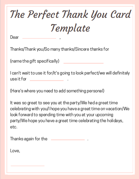 Need an easy way to write the perfect Thank You Card? Click here for a printable template!