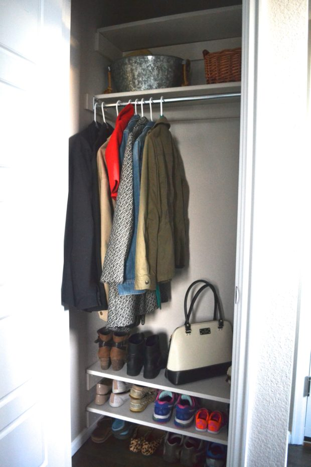 Click here for an easy DIY to create coat closet shelves and get rid of the mountain of shoes.