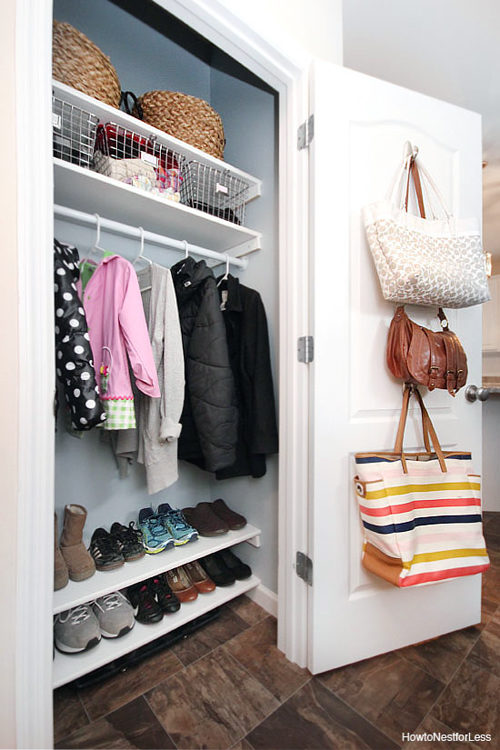 Click here to see how to DIY Coat Closet Shelves to decrease shoe clutter.