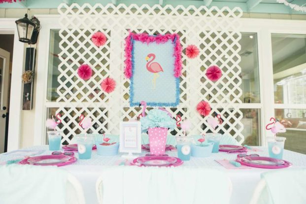 Flamingo Birthday Party Inspiration with a pink, purple, and blue color scheme.