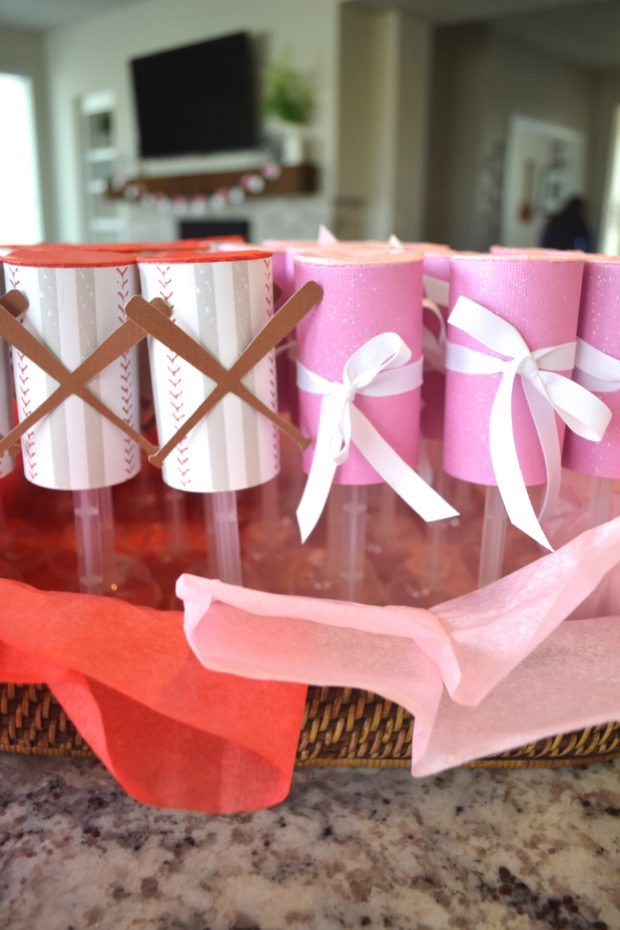 Enjoy this Baseballs or Bows Gender Reveal Party complete with a confetti popper gender reveal!