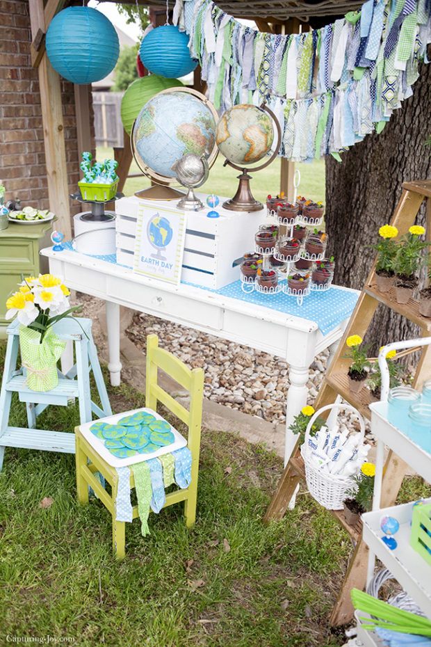 April Parties, Earth Day, DIY Earth Day celebration, Earth Day table scape and favors