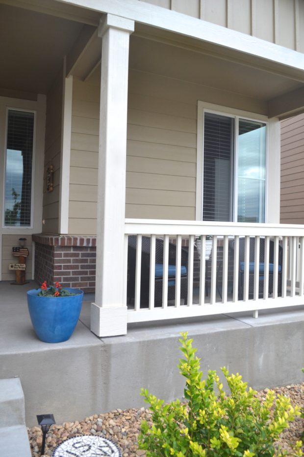 Spring front porch makeover with furniture and plants, front porch before and after.