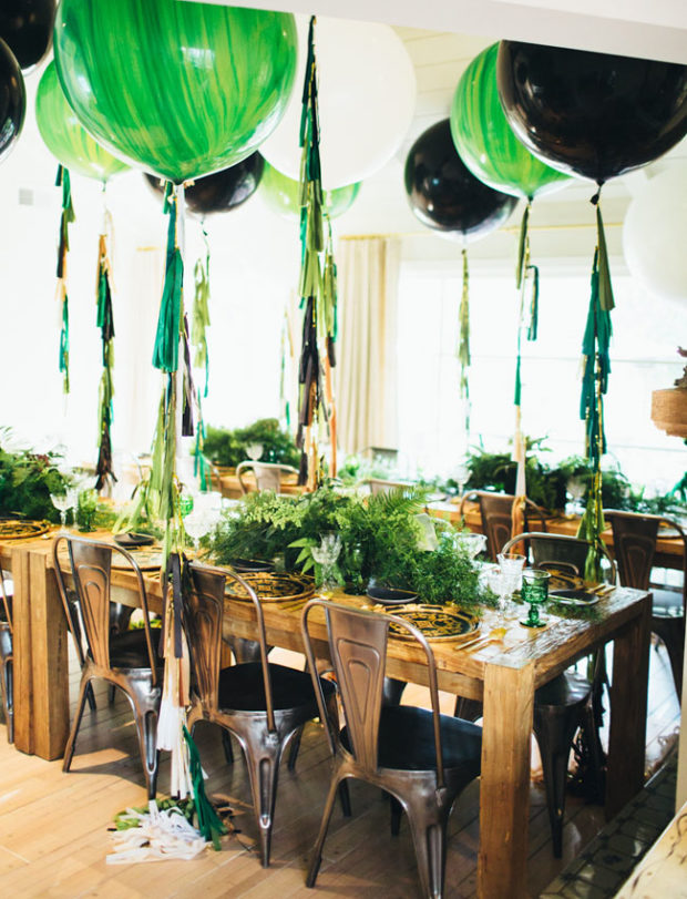 May Party round up, emerald birthday party, black, white, and emerald, green party with large balloons