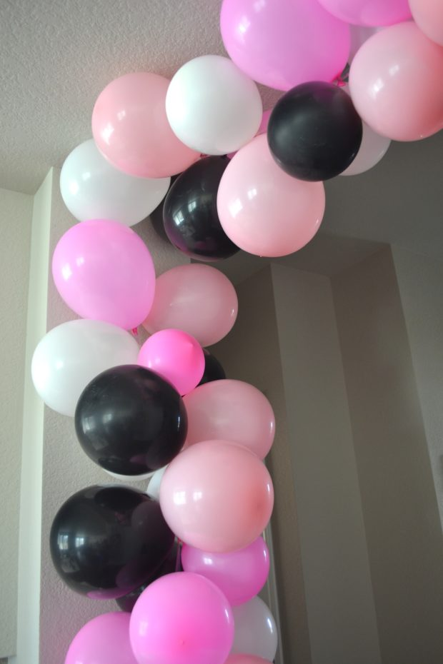 DIY Balloon Arch without Helium, Pink, Black, and White Balloon arch, Balloon installation, entrance statement with balloons