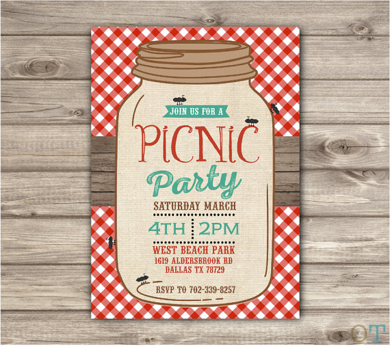 Summer party themes, backyard picnic party, picnic invitation, red gingham invitation, mason jars