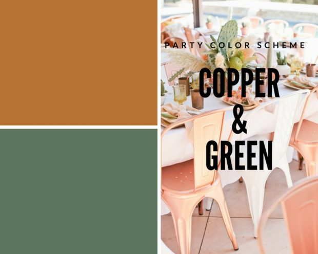 Party color scheme with copper and green, cactus party, desert party, party colors