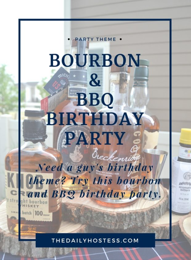 Bourbon and BBQ themed guy's birthday, plaid and rustic birthday for guy's, bourbon bar