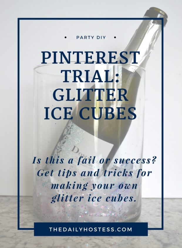 How to make glitter ice cubes, ice cube bucket, pink and blue glitter ice cubes