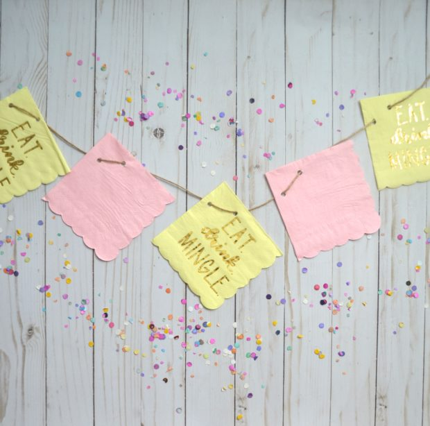 how to make a diy party banner, easy party banner, party banner with cocktail napkins