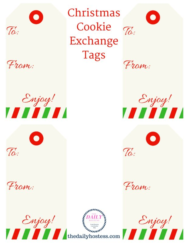 Cookie Exchange Printable, cookie exchange ideas, cookie exchange tags, gift tags