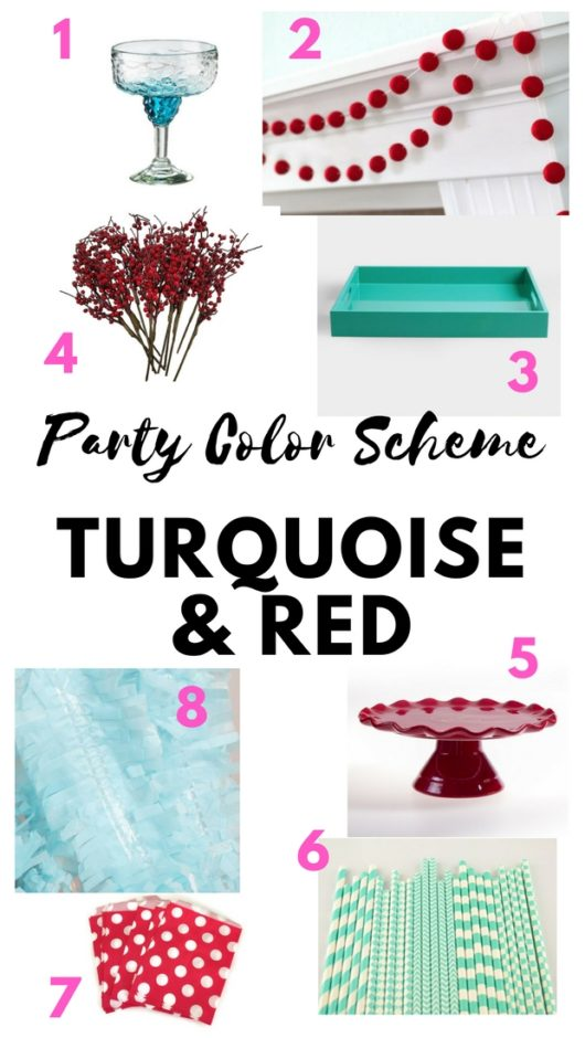 turquoise and red color scheme, turquoise and red party decor ideas, turquoise and red party plan