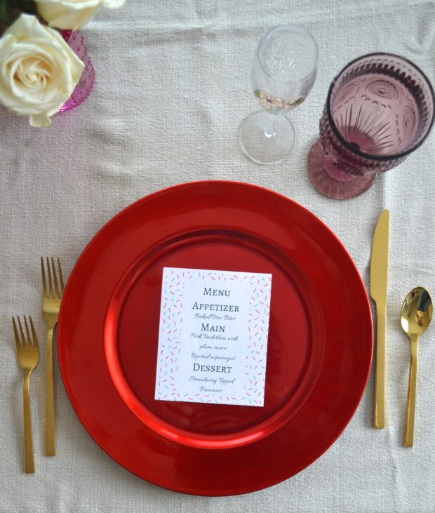 Date night at home, date night tablescape, valentine's day tablescape, valentine's day place setting, date night menu, valentine's day menu