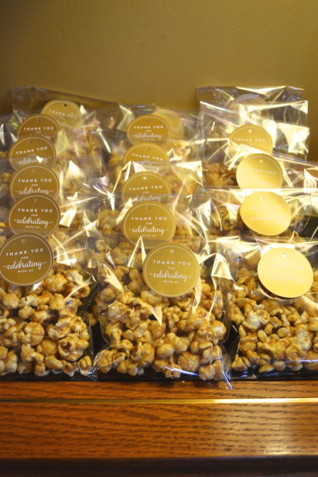 White Gold Baby Shower Popcorn Favors The Daily Hostess