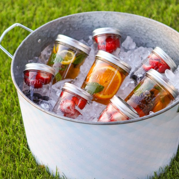 how to serve water at a party, water serving ideas, party ideas for serving water, how to make water look pretty, infused water ideas