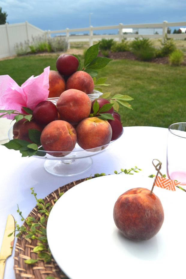 peach party centerpiece, peach party decorations, peach party tablescape, peach themed baby shower, peach bridal shower, peach party favors
