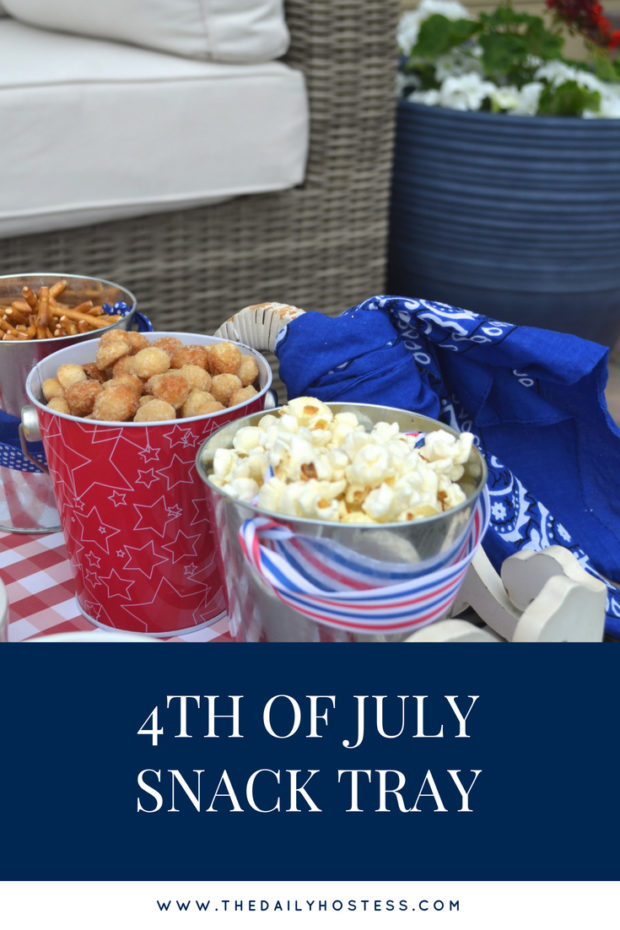 4th of July snack tray ideas, 4th of July snack buffet, outdoor dining, red white and blue snack tray