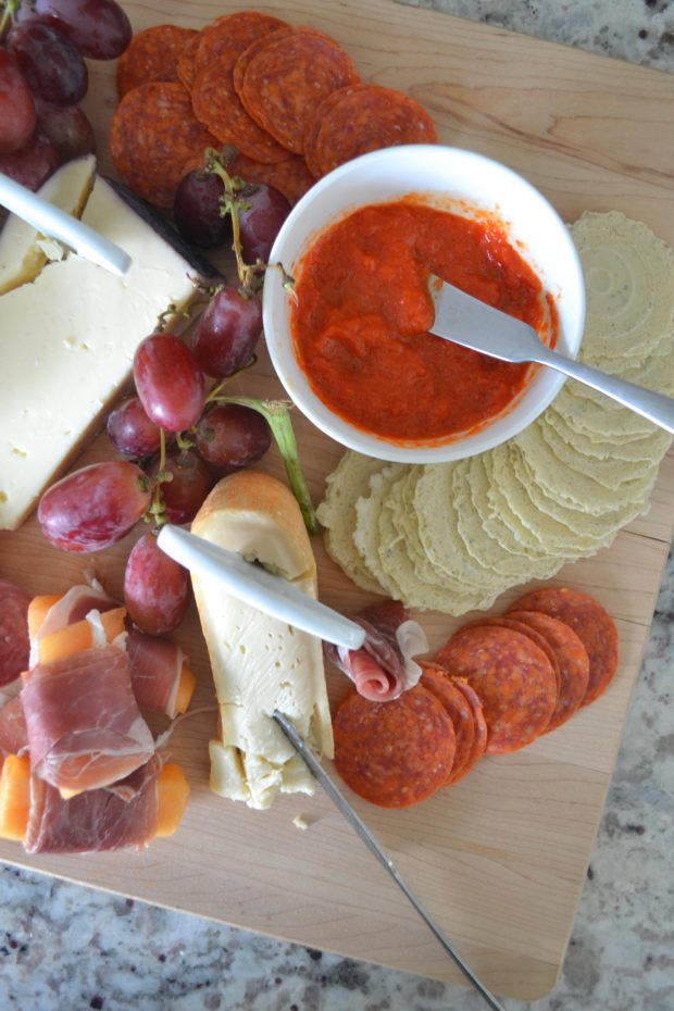 September seasonal charcuterie, how to make a cheese board, blackberry jam recipe, roasted red pepper jam recipe, meat and cheese board