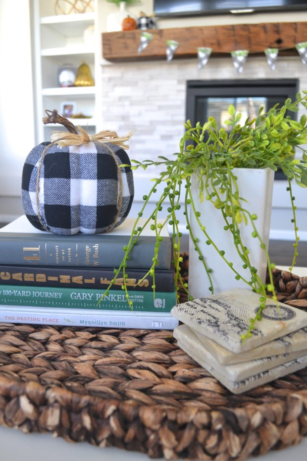 fall coffee table decor, fall decorating, fall coffee table tray ideas, coffee table makeover