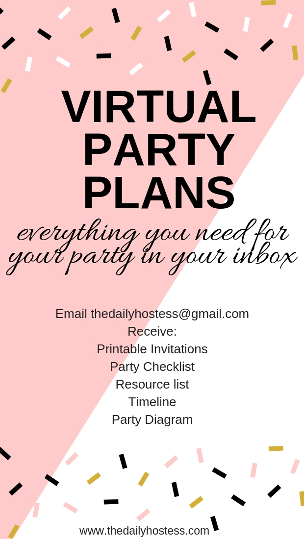 virtual party plans, stress free party planning, party plan to your email inbox