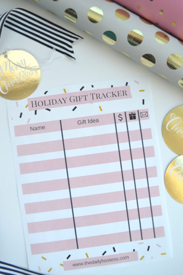 holiday gift tracker, plan out Christmas gifts with this printable list, printable gift list