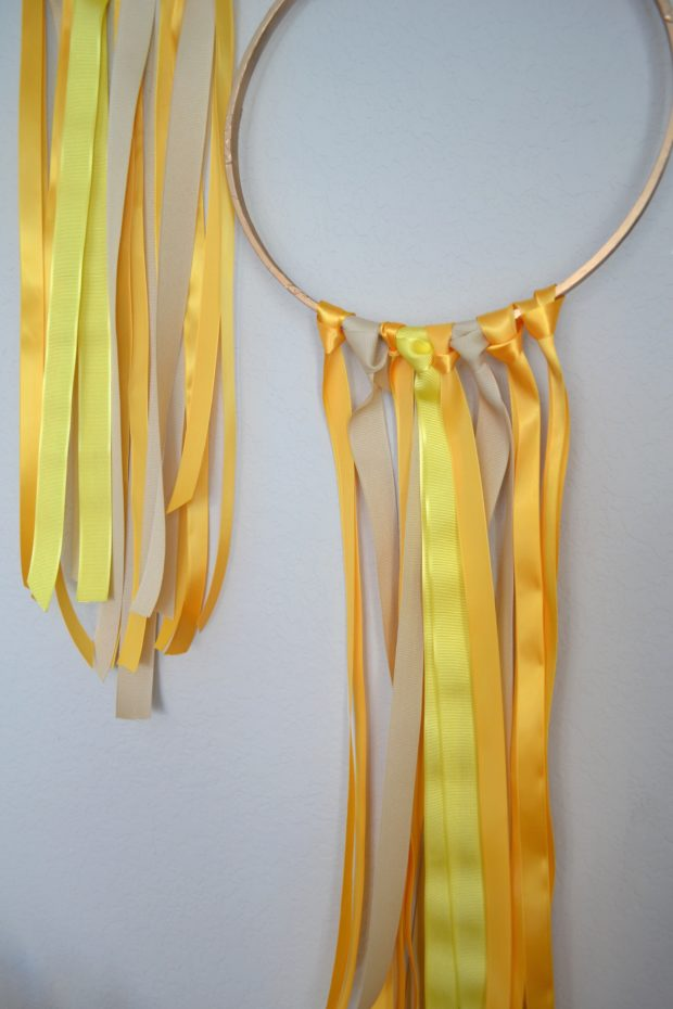 diy ribbon garland, embroidery hoop diy, easy ribbon party decor, yellow party decor, ribbon hoop garland tutorial