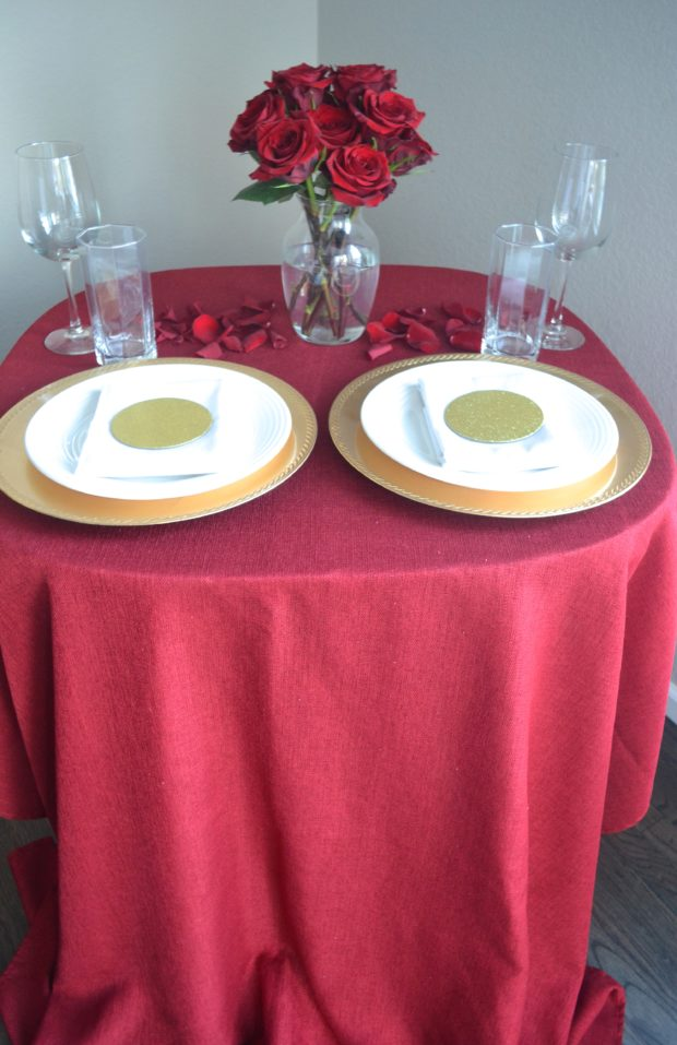 red Valentine's day centerpiece, red Valentine's day at home date night, red and gold tablescape, red and gold party decor