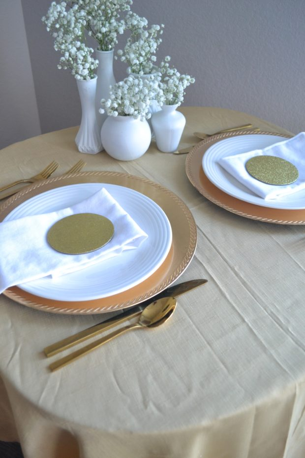 Gold tablescape, dinner party at home, date night tablescape, gold and white tablescape