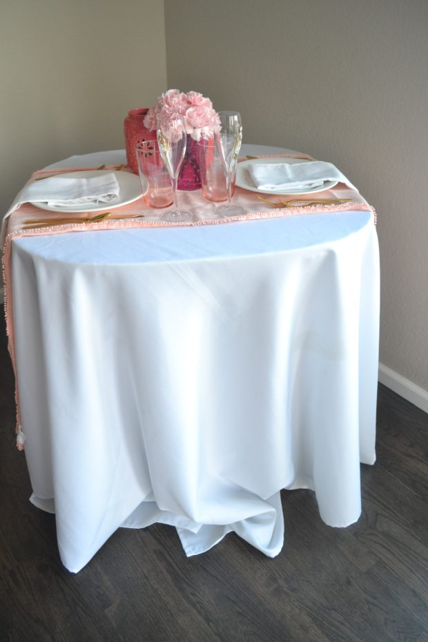 pink and white tablescape, valentine's day table ideas, at home date night, pink centerpiece