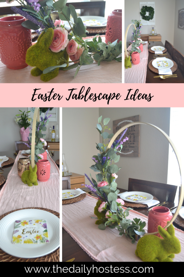 Floral hoop wreath, floral hoop diy, floral hoop tutorial, Easter table decorations, Easter tablescape #eastertableideas #floralhoopwreath