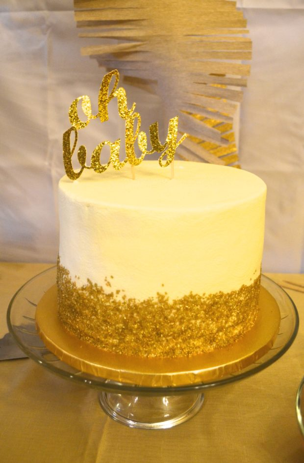 White,Gold,Baby,Shower,Cake,1 , The Daily Hostess