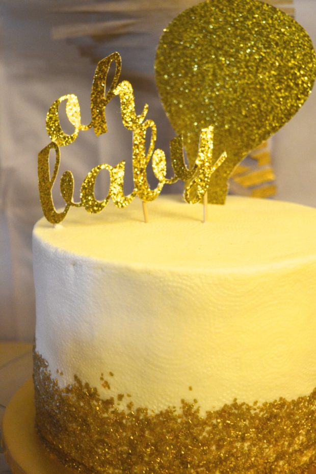 White,Gold,Baby,Shower,Cake,Topper , The Daily Hostess